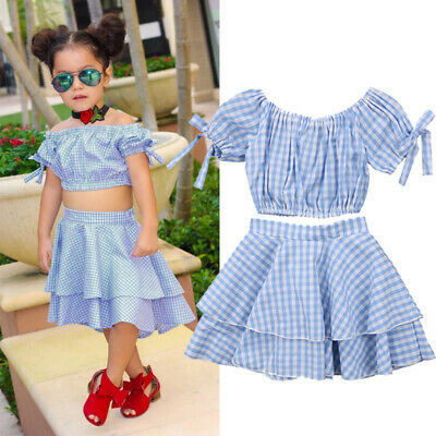 2c5ece1bfb Toddler Baby Girls Plaid Off Shoulder Crop Top Skirt Outfits Clothes Summer  UK