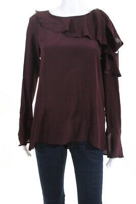 e23cf39f5f790 Gold Hawk Womens Long Sleeve Cold Shoulder Top Blouse Red Silk Ruffle Size  XS