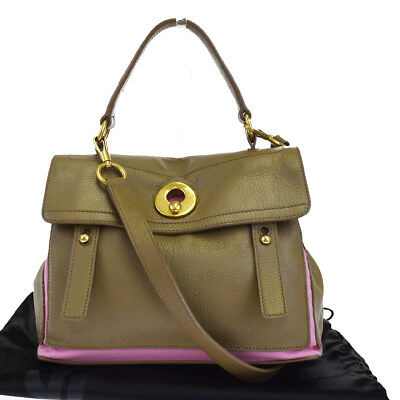 Auth YVES SAINT LAURENT Muse Two 2Way Shoulder Hand Bag Canvas Leather  39EJ636 4ce4292aad077