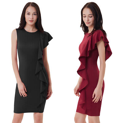 Dress Womens Ladies Bodycon Sleeveless One side flounce Slim fit Summer Casual