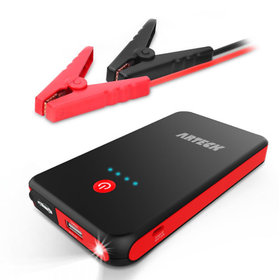 Portable Car Jump Starter 8000mAh Jumper Clamps USB Phone Motorcycle TractorBoat