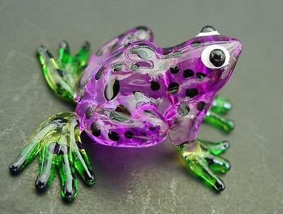 Glass FROG Spotted Purple Painted Glass Animal Ornament Cute Little Glass Figure