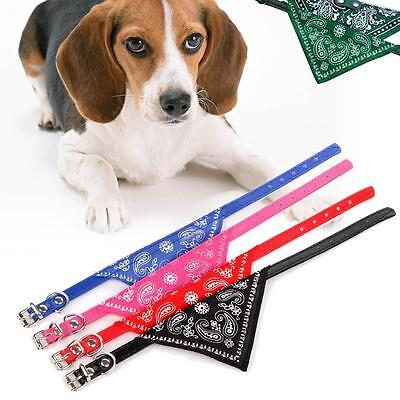 Adjustable Pet Dog Puppy Cat Neck Scarf Bandana w/ Leather Collar Neckerchief MT