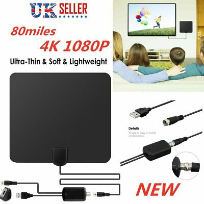 Freeview HDTV Indoor Antenna Aerial HD Digital TV Signal Amplified Booster&Cable