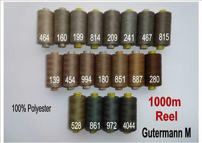 Gutermann  SEW ALL PURPOSE Sewing thread 100% Polyester 1000m choice LARGE REEL