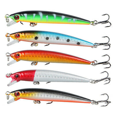 Lot 5pcs Top Water Minnow Fishing Lures Crank Baits Floating Rattles 9cm 6.6g CZ