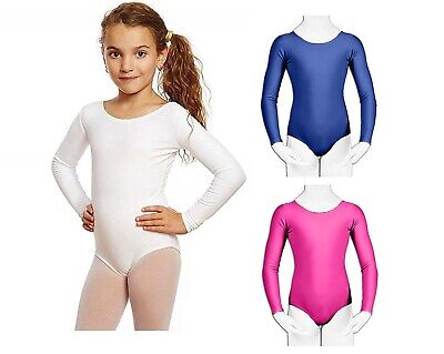 Girls Kids Dance Gymnastic Leotard Long Sleeve Round Neck Bodysuit Top Children