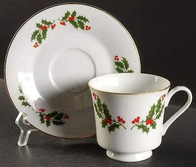All The Trimmings CHRISTMAS HOLLY (PORCELAIN) Cup & Saucer 6188585
