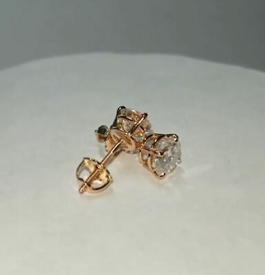 2Ct Round Cut Solitaire Moissanite Earrings Forever Stud In 14K Rose Gold Over