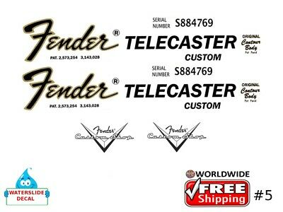 Fender Telecaster Guitar Decal Headstock Inlay Decal Restoration Logo 5