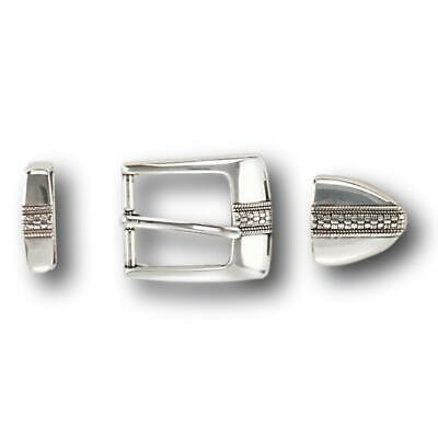 """Three Piece Sterling Silver Belt Buckle Set - Fits up to 1 1/8"""" Belts"""