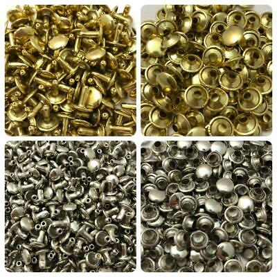 "Brass & Nickel Rivets for Leather Crafts - 3/8"" Long Stem"