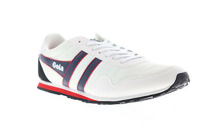 Gola Monaco Mens White Leather & Textile Low Top Lace Up Sneakers Shoes