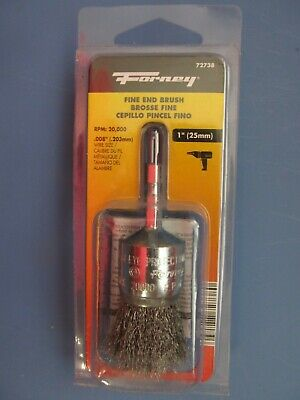 "Forney 72738 Wire End Brush, Fine Crimped with 1/4-Inch Hex Shank, 1""  NEW"
