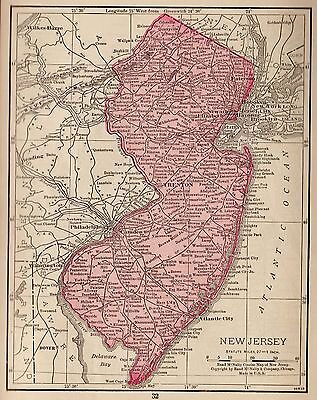 1928 Antique NEW JERSEY Map Vintage State Map of New Jersey Gallery Wall