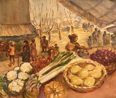 French Impressionist Watercolour - Figures At Vegetable Market