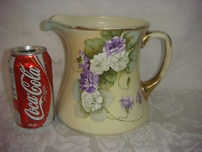 Antique Large Pitcher Tankard Vienna China Austria Hand Painted & Signed Crown