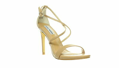 b4d385ca4923 STEVE MADDEN WOMENS Kirsten Natural Leather Ankle Strap Heels Size ...