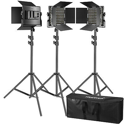 3 Packs Regulable 660 LED Kit Iluminación Fotografía con Luz Video con Soporte