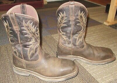 2bc83d87bcd MENS ARIAT WORKHOG Wide Square Toe H2O Soft Toe Work Boots sz 10 D ...