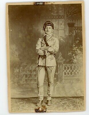 Young man in unusual suit  - Antique Cabinet card photo