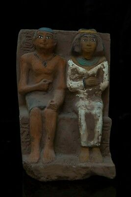 Ancient EGYPT EGYPTIAN ANTIQUES STATUE, of King Amenhotep III and Queen Stone BC
