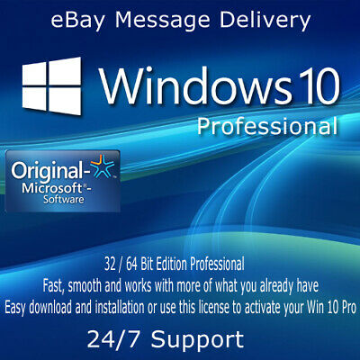 Microsoft GENUINE WINDOWS 10 PROFESSIONAL PRO KEY 32 / 64BIT ACTIVATION Code