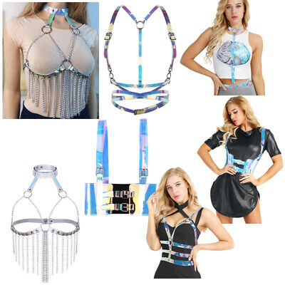 Hologram Womens Punk Gothic PVC Body Chest Harness Cupless Cage Bra Belt Straps