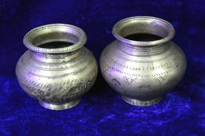 2 Pc. Old Vintage Antique Indian Brass Holy Water Pot Collectible PS26