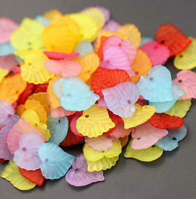 100pcs Mixed Leaves Frosted Acrylic Beads Pendant For Jewelry Accessories