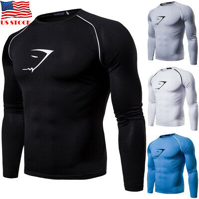 Men T Shirt Long Sleeve Muscle Tee Sports Workout Tops Tights Cycling Gym Blouse