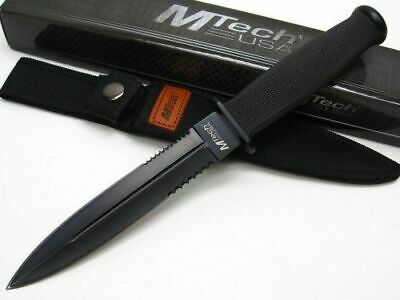 M-Tech 225 Serrated Dagger Full Tang  Survival Fixed Blade Knife + Sheath