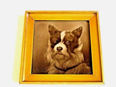 ANTIQUE Terrier Dog  TILE FRAME 1890-1910 GORGEOUS ENGLISH CERAMIC PLAQUE TILE