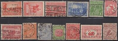 1914-38 Thirteen Commemoratives, roos, KGV heads and Postage Dues, used