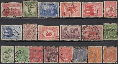 1914-38 Twenty Commemoratives, roos and KGV heads, used -2-