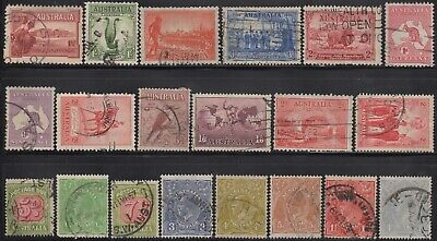 1914-38 Twenty Commemoratives, roos, KGV heads and Postage Dues, used