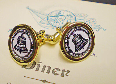 Bell Telephone & Telegraph Company, Vintage Style 1920's, Gold Plated Cufflinks.