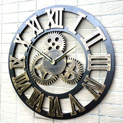 Skeleton Garden Wall Clock Big Roman Numerals Large Open Face Metal 40Cm F2L0P