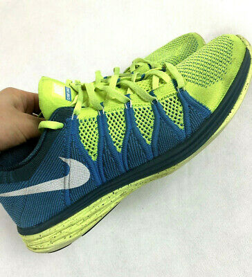 lowest price 8b31d 91435 Nike Flyknit Lunar 2 Size 9 UK Blue Green Unisex Running Trainers Shoes  Workout