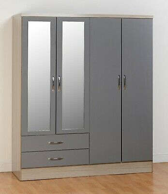 Nevada Light Oak & Grey Gloss 4 Door 2 Drawer Mirrored Wardrobe