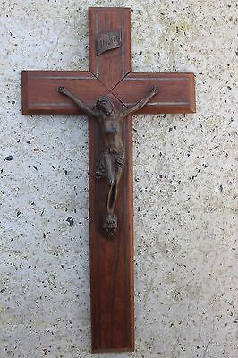 Antique Brass on Wood Crucifix Cross Jesus Wall Hanging Metal Marquetry