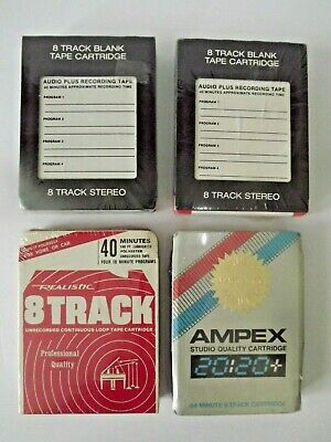 Mixed Lot Of 4 Vintage Blank 8 Track Tapes Ampex Realistic 40 & 84 Minute New