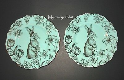 222 Fifth Bunny Hill Turquoise & Gold Salad Plates - Set of 2 - Easter Rabbit