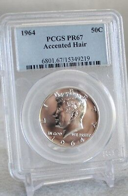 1964 50c PCGS PR 67 (Accented Hair)  - Kennedy Half Dollar w/ Wood Display Box
