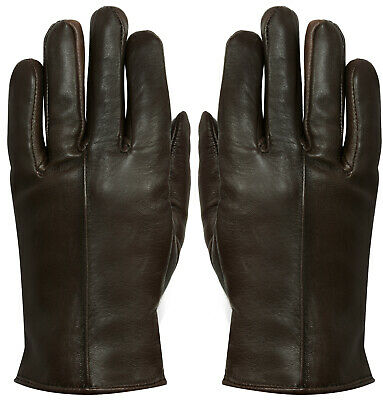 Womens Brown Classic Soft Real 100% Leather Gloves Thermal Lined Driving Fitted
