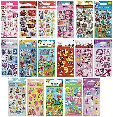 Licensed Character STICKERS - 6 Sheets Party Pack Birthday Loot Bag Fillers (1C)