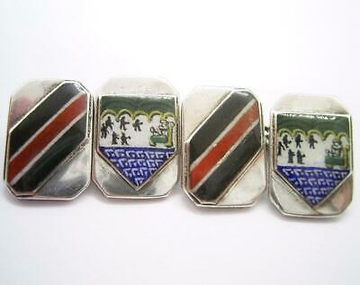 Antique Art Deco 1935 Solid Silver Enamel Turner & Simpson Cufflinks Jubilee Mk