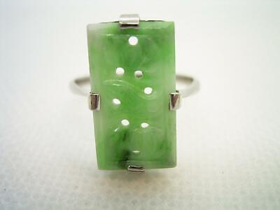 Antique Art Deco 9Ct White Gold Carved Jade Panel Ring Size M Us 6.25