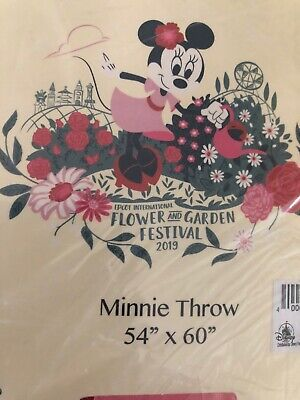Disney Epcot Flower Garden Festival 2019 MINNIE GARDEN PARTY THROW BLANKET 54x60