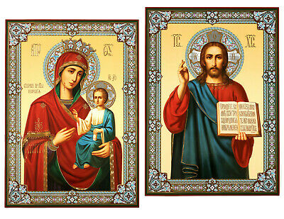 Matching PAIR Russian Icons Madonna & Child Christ the Teacher Gold Foil 18 1/2""